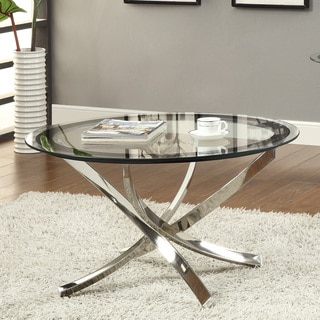 Coaster Round Glass and Chrome Coffee Table