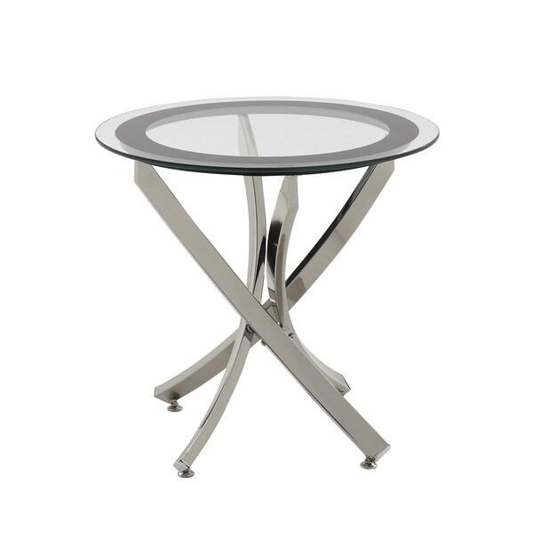 Charming Coaster Company Chrome Glass End Table