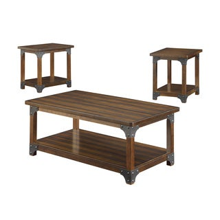 Three-Piece Brown Coffee Table Set