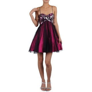DFI Women's Sweetheart Butterfly Sequin Short Evening Gown