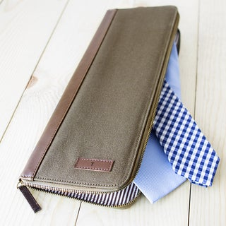 Personalized Men's Green Canvas Travel Tie Case