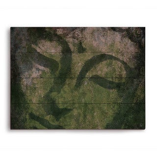 'Weathered Buddha' Moss Graphic Print on Wood