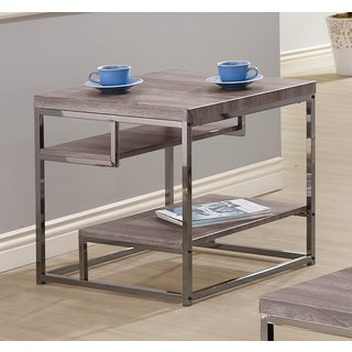 Coaster Home Furnishings End Table, Weathered Grey/Black Nickel