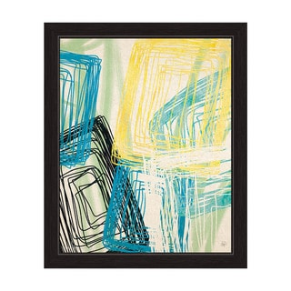 Spinning Yellow Blue And Green Boxes Framed Graphic Art