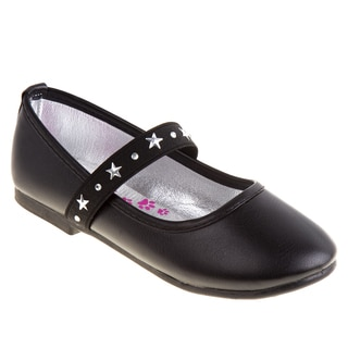 Rugged Bear Girls' Star Stud Strap Ballerinas