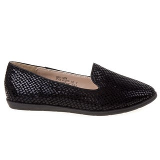 Kensie Girls' Shiny Black Snake Print Ballerinas