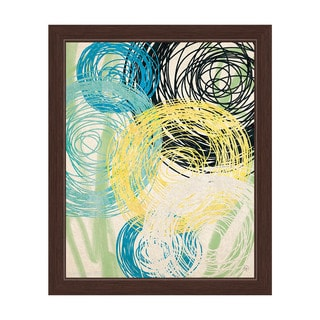 Spinning Yellow Green And Blue Flowers Framed Graphic Art