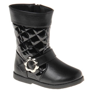Laura Ashley Girls' Quilted Flower Buckle Boots