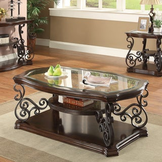 Coaster Company Dark Brown Glass and Metal Coffee Table