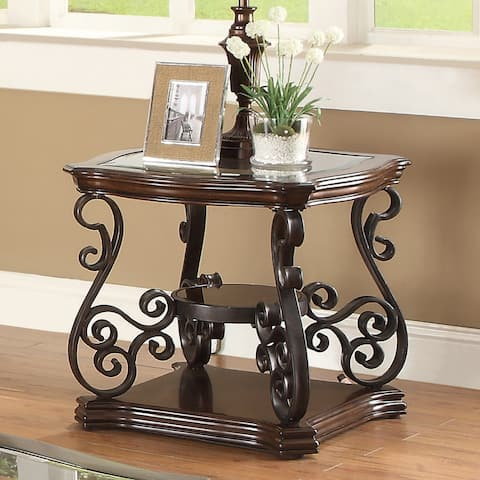 Coaster Company Square Dark Brown Metal End Table (As Is Item)