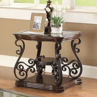 Shop Riviera Wood And Metal Nail Head Trim End Table By
