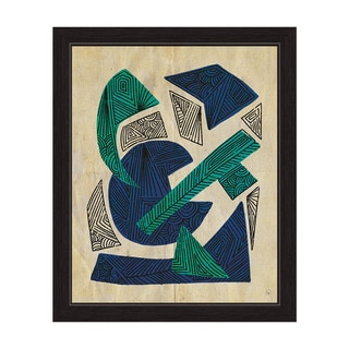 Scraps Of Patterns In Teal And Blue Framed Graphic Art