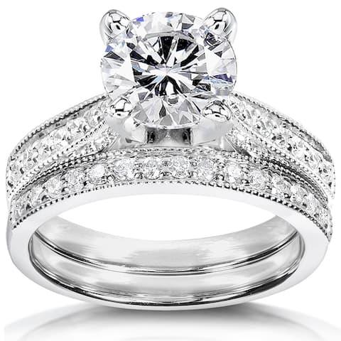 Annello by Kobelli 14k White Gold 1 1/2ct Round Moissanite and 1/3ct TDW Diamond Pave Milgrain Bridal Set