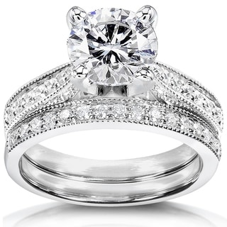 Annello by Kobelli 14k White Gold 1 1/2ct Round Moissanite (HI) and 1/3ct TDW Diamond Pave Milgrain Bridal Set