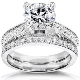 Annello by Kobelli 14k White Gold 1 1/2ct Round Moissanite (HI) and 1/3ct TDW Diamond Pave Milgrain