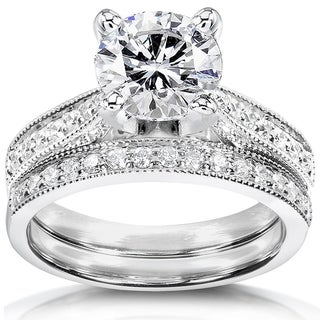 Annello by Kobelli 14k White Gold 1 1/2ct Round Moissanite and 1/3ct TDW Diamond Pave Milgrain Bridal Set
