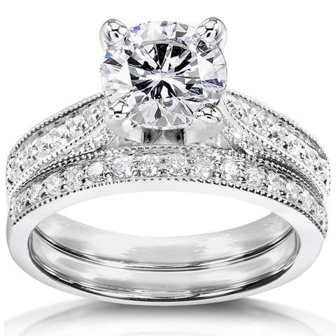 Annello by Kobelli 14k White Gold 1 1/3ct TGW Round Moissanite and Diamond Pave Milgrain Bridal Set