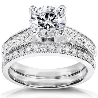 Link to Annello by Kobelli 14k White Gold Moissanite and Diamond Pave Bridal Set Similar Items in Rings