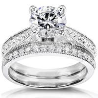 Annello by Kobelli 14k White Gold 1 1/3ct TGW Round Moissanite (HI) and Diamond Pave Milgrain Bridal Set