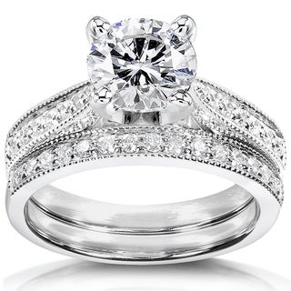 Annello by Kobelli 14k White Gold 1 1/3ct TGW Round Moissanite and Diamond Pave Milgrain Bridal Set