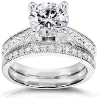 Annello by Kobelli 14k White Gold 1 7/8ct Round Moissanite and 1/3ct TDW Diamond Pave Milgrain Bridal Set