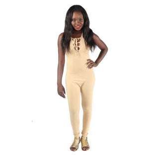 Hadari Woman's sexy fitted beige jumpsuit