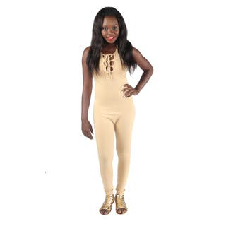 Hadari Woman's sexy fitted beige jumpsuit|https://ak1.ostkcdn.com/images/products/12180706/P19031015.jpg?impolicy=medium