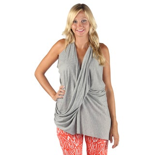 Hadari Womans Casual Sleeveless Overlapped Frontal V-Neck Back Crossed Gray Top