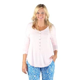 Hadari Woman's Mid Round Button Down 1/2 Sleeve Loosefit PinkTop