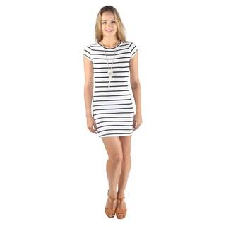 Hadari Woman's White High Round Neckline Stripped Shift Midi Dress