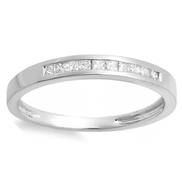 Elora 10k White Gold 1/4ct TDW Diamond Wedding Band