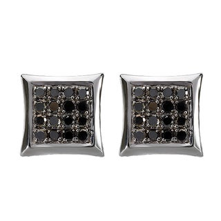 Black Rhodium Plated 14K White Gold 3/4 ct. TDW Round Diamond Micro Pave Kite Shape Hip Hop Iced Stud Earrings (Black, Opaque)