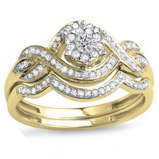 Elora 14k Yellow Gold 2/5ct TDW Diamond Bridal Set (H-I, I1-I2)