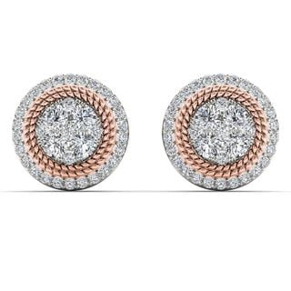 De Couer 10k Pink Two Tone White Gold 5/8ct TDW Diamond Halo Frame Cluster Stud Earrings (H-I,I2)