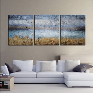 'Abstract 674' Gallery-wrapped Canvas 3-piece Hand-painted Art Set