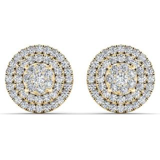 De Couer 10k Yellow Gold 1/2ct TDW Diamond Cluster Double Frame Stud Earrings