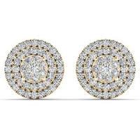 De Couer 10k Yellow Gold 1/2ct TDW Diamond Cluster Double Frame Stud Earrings