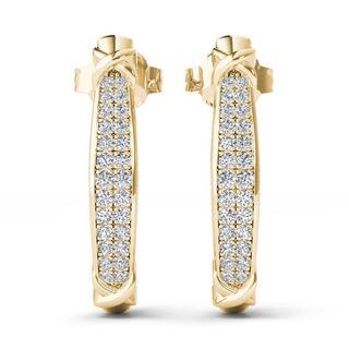 De Couer 10k Yellow Gold 2/5ct TDW Diamond Half Hoop Earrings