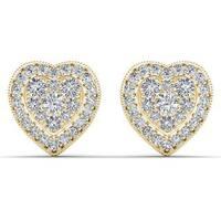 De Couer 10k Yellow Gold 1/3ct TDW Diamond Cluster Heart Stud Earrings