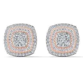 De Couer 10k Pink Two Tone White Gold 1/2ct TDW Diamond Cluster Halo Stud Earrings (H-I,I2)