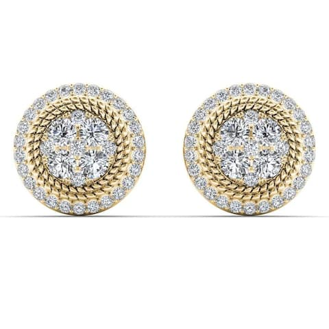 De Couer 10k Yellow Gold 5/8ct TDW Diamond Halo Frame Cluster Stud Earrings