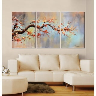Hand-painted 'Wintersweet' 3-piece Gallery-wrapped Canvas Art Set