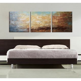 Hand-painted 'Abstract 678' 3-piece Gallery-wrapped Canvas Art Set