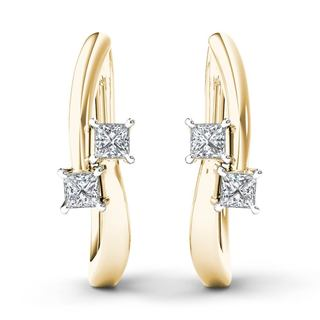 De Couer 10k Yellow Gold 1/3ct TDW Diamond Two-Stone Hoop Earrings (H-I,I2)
