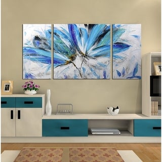 'Abstract Flower 679' Hand-painted Gallery-wrapped 3-Piece Canvas Art Set