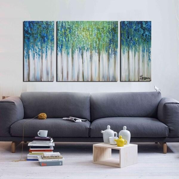 Nice Hand Painted U0026#x27;Blue Memoryu0026#x27; 3 Piece Gallery