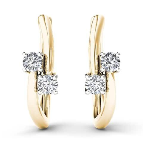 De Couer 10k Yellow Gold 1/3ct TDW Diamond Two-Stone Diamond Hoop Earrings