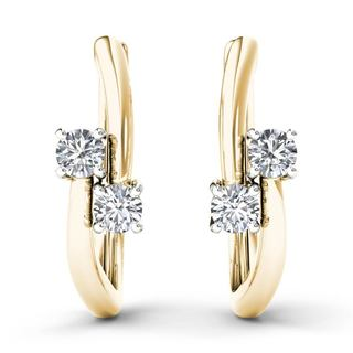 De Couer 10k Yellow Gold 1/3ct TDW Diamond Two-Stone Diamond Hoop Earrings (H-I,I2)