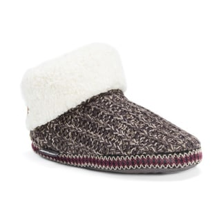 Muk Luks Women's Faux Fur Cuff Bootie Slippers