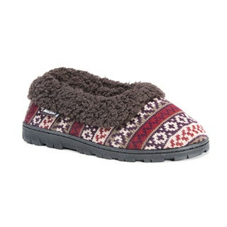 Muk Luks Women's Polyester/ Acrylic Patterned Full Foot Slipper